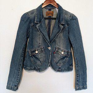 LEVI'S - Puff Sleeve Wide Notch Denim Jacket S